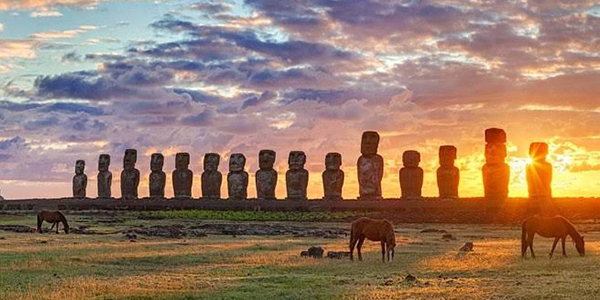 Watch beautiful sunsets at the UNESCO World Heritage Site on Easter Island, Chile
